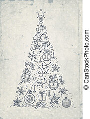 Christmas tree - Hand -drawn Christmas tree on grunge...