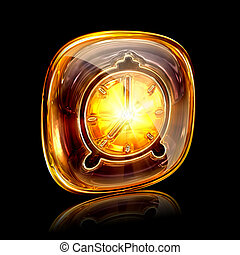 Clock icon amber, isolated on black background