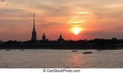 Sunset over Peter and Paul fortress in Saint-Petersburg, Russia - timelapse