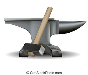 blacksmith's anvil and hammer in shades of gray on a white...