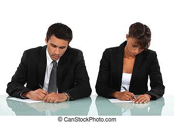 deux, Business, gens, Écriture, bureau