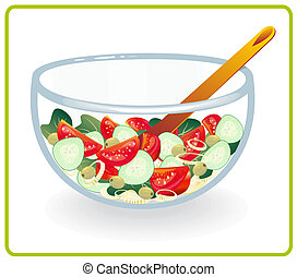 Bowl with salad - Chopped salad vegetables