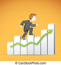 Business man climbing Bargraph - illustration of 3d business...