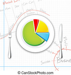 Pie chart on Dish with Fork and Knife - illustration of pie...