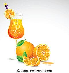 Fresh Orange Juice - illustration of freshy orange juice in...