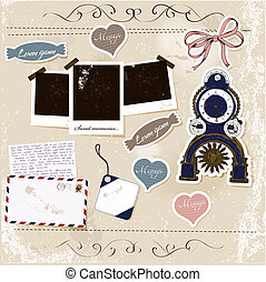 Scrapbook elements set - Vintage scrapbook elements set...