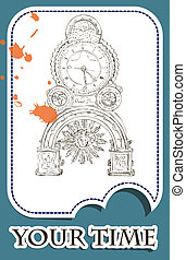 Grunge card with old clock