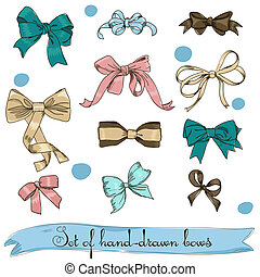 set of vintage bows Vector illustration EPS8