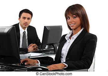 profissionais, negócio, trabalhando, escrivaninhas, seu,...