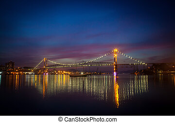 Bridge at Night - The Hercilio Luz Bridge, in Florianopolis,...