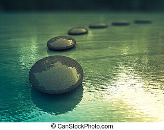 Zen Stones - Black zen stones  on a sea