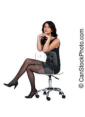 Attractive woman sitting on a chair