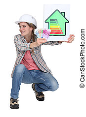 Woman laborer holding energy rating sign and bills
