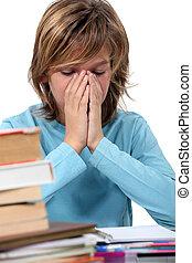 cansadas, criança, seu, dever casa