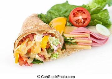 magra, panquecas, presunto, queijo, legumes
