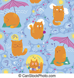 Seamless Pattern - Cats And Summer - Vector seamless pattern...