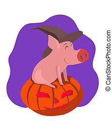 Pig in the gourd - vector illustration of a pig on a pumpkin