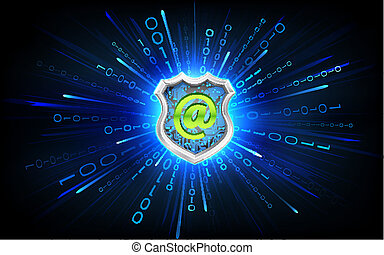 Virtual Antivirus - illustration of antivirus shield on...