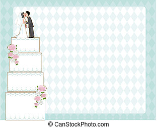 Wedding Cake Invite - Wedding cake with bride and groom on...