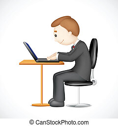 3d Man working on Laptop - illustration of 3d vector man...
