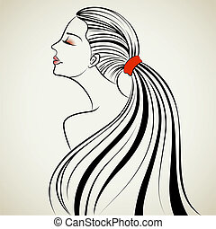 Beautiful Lady - illustration of beautiful lady in with...