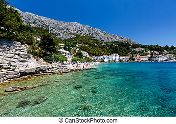 Beautiful Beach and Transparent Turquoise Adriatic Sea near...