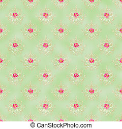 Seamless Damask and Roses Pattern - Creamy damask pattern...