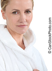 Woman in bath robe