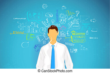 Man thinking of Business - illustration of man thinking of...
