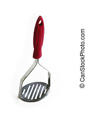 Silver potato masher with red handle