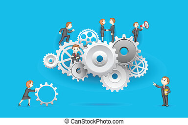 Business People on Cog Wheel - illustration of business...