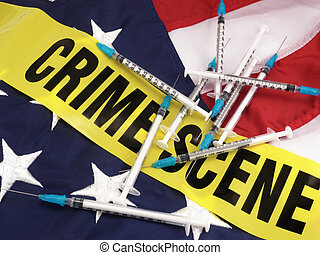 Syringes And Crime Scene Cordon Tape Over American Flag -...