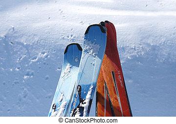 Close-up shot of skis
