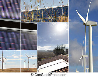 Montage of renewable energy sources