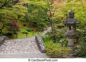Ancient Lantern in japanese garden