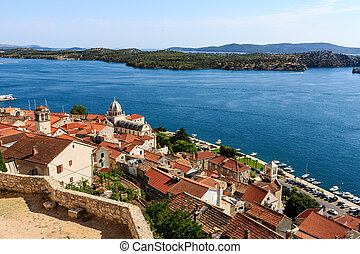 Panoramic View of Sibenik and Saint James Cathedral from...
