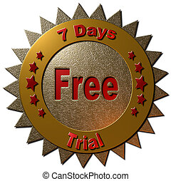 "7 days free trial - A gold and red seal stating ""7 days free..."