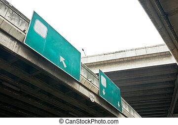 Signboard on high way bridge