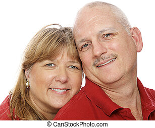 Couple In Love - Closeup headshot of a mature couple in...