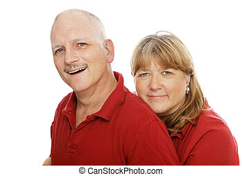 Happy Mature Couple - Head and shoulders portrait of a happy...