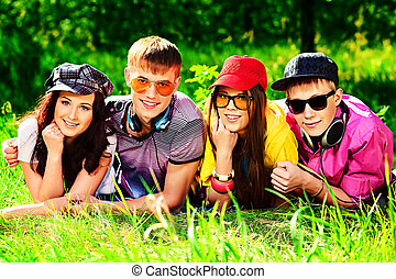 young people - Group of young people having a rest together...