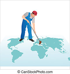 Professional cleaner wiping the world`s map with a swab