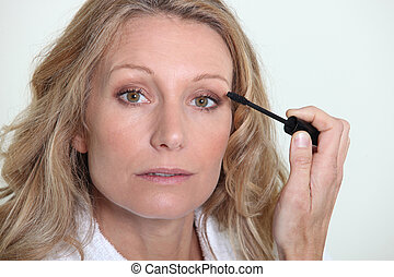 woman with mascara