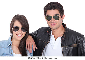 portrait of teenagers with sunglasses