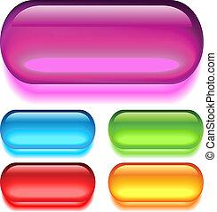 Vector glass buttons set