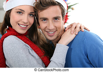 Portrait of a young couple at Christmas