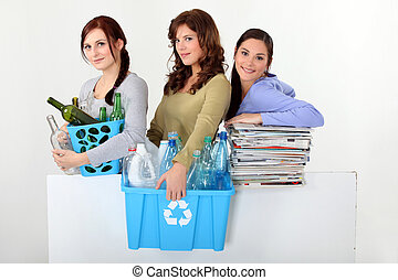 young women waste sorting