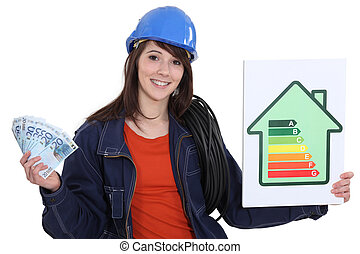 Electrician holding cash and an energy rating sign