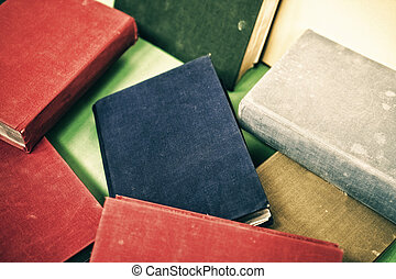 Heap of old books, close-up