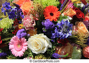 Mixed floral arrangement in bright colors - mixed floral...
